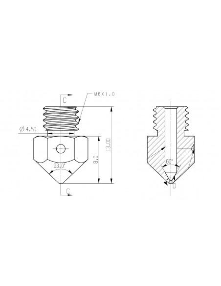 Premium nozzle MK8 0,4 mm 1,75 mm