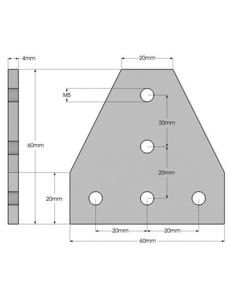 Narożnik usztywniający 90° typu T do profilu 20x20