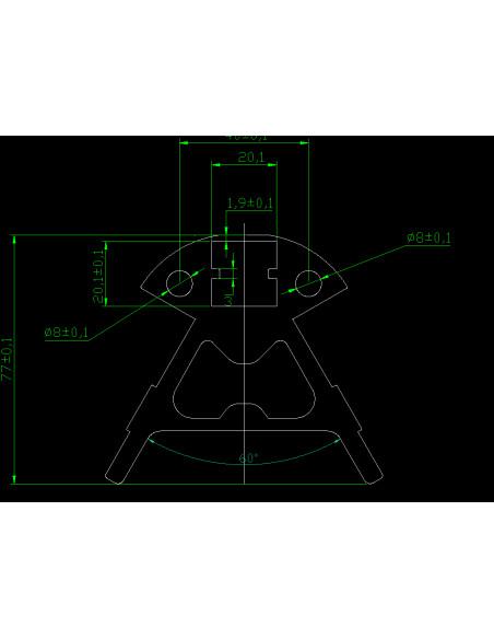 Corner for printer DELTA KOSSEL 20x20 - black