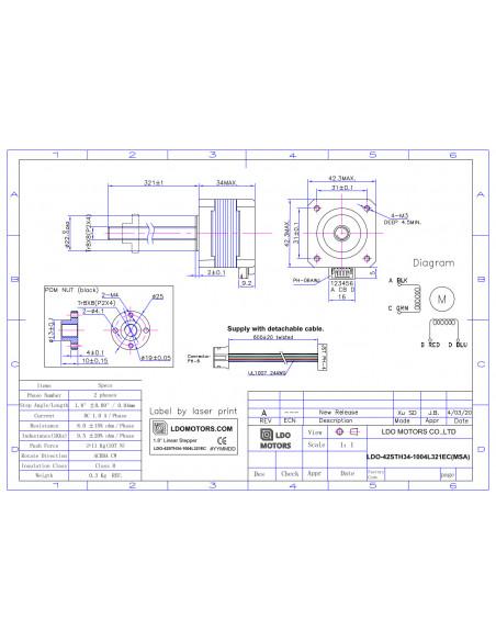 Stepper motor LDO-42STH34-1004L321EC