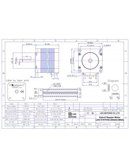 Stepper motor LDO-57STH56-2804AC