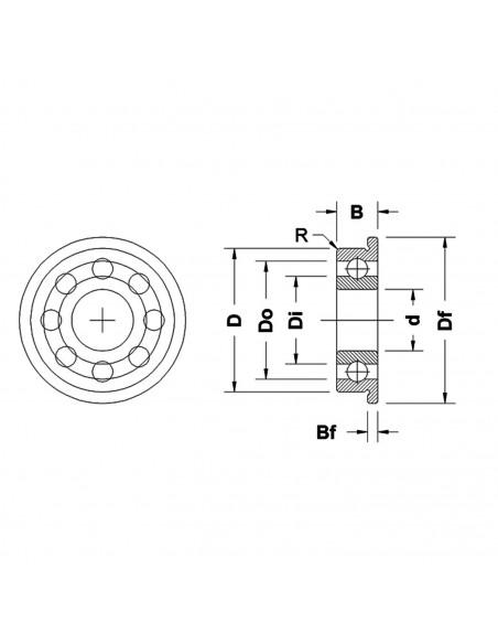 Flanged bearing F695-2RS 5x15x4mm