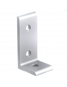 Flat aluminum corner bracket 90° - 60x30x26mm - silver