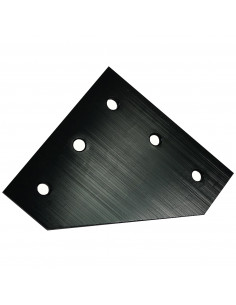L-type connection plate for 2020 profile - black