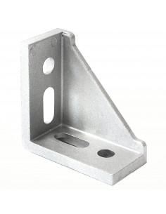 4 Hole Inside Corner Bracket with single support - 60x60x30mm - silver
