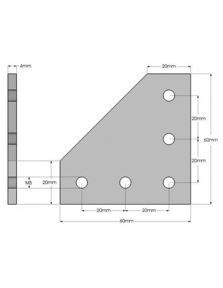 L-connection plate for aluminum 20x20 extrusions